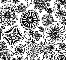Black and White Flowers Doodle Drawing by lasgalenarts