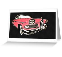 Pink Ford Edsel Painting Greeting Card
