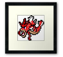 Pokemon 8-Bit Pixel Red Gyarados 130 Framed Print