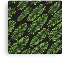 Watercolor Seamless pattern with banana leaves. Canvas Print
