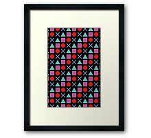 Gamer Pattern Solid Black Framed Print