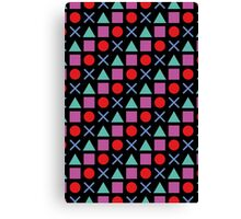 Gamer Pattern Solid Black Canvas Print