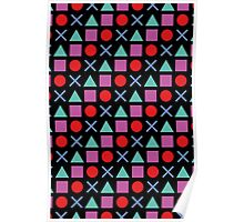 Gamer Pattern Solid Black Poster