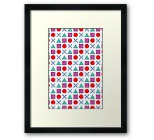 Gamer Pattern Solid White Framed Print
