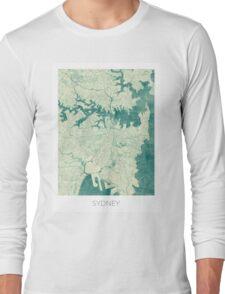 Sydney Map Blue Vintage Long Sleeve T-Shirt