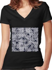 Smokey Blue with white Lace Women's Fitted V-Neck T-Shirt