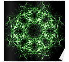 Green Neon Mandala Poster