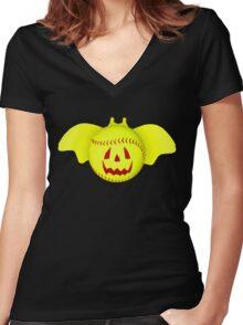 Novelty Halloween Softball Bat Mashup Women's Fitted V-Neck T-Shirt