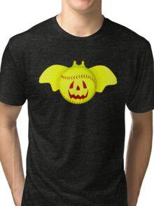 Novelty Halloween Softball Bat Mashup Tri-blend T-Shirt