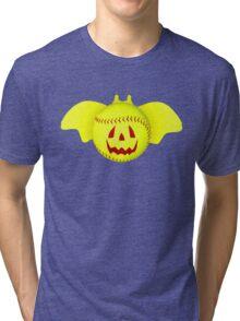 Novelty Halloween Softball Bat Mashup Tri-blend T-Shirt