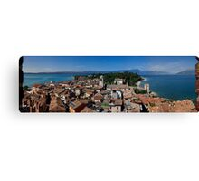 View on lake Garda, Sirmione and Mountains in Italy Canvas Print