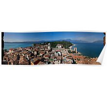 View on lake Garda, Sirmione and Mountains in Italy Poster