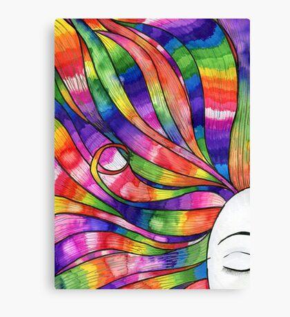 Woman with Rainbow hair Canvas Print