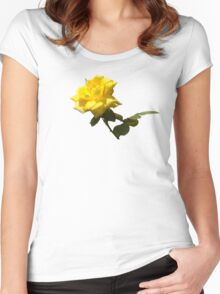 Isolated a single golden yellow rose  with green rose leaves Women's Fitted Scoop T-Shirt