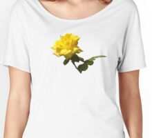 Isolated a single golden yellow rose  with green rose leaves Women's Relaxed Fit T-Shirt