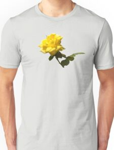 Isolated a single golden yellow rose  with green rose leaves Unisex T-Shirt