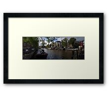 Panoramic view on Houseboats and Canal Houses in Amsterdam Framed Print
