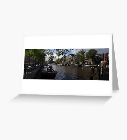Panoramic view on Houseboats and Canal Houses in Amsterdam Greeting Card