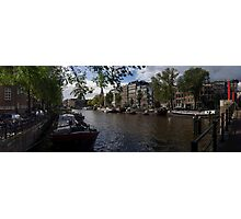 Panoramic view on Houseboats and Canal Houses in Amsterdam Photographic Print