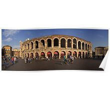 Panoramic view on the Arena di Verona in Italy Poster