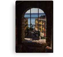 View on Lake Garda and Sirmione Old city in Italy Canvas Print