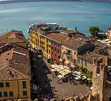 View on beautiful Lake Garda and Sirmione Old city in Italy by Yevhenii Volchenkov