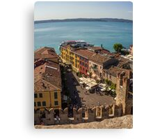 View on beautiful Lake Garda and Sirmione Old city in Italy Canvas Print