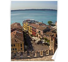View on beautiful Lake Garda and Sirmione Old city in Italy Poster