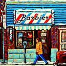 BARBERSOP PAINTING MONTREAL WINTER SCENE CANADIAN ART  by Carole  Spandau