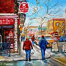 FRENCH BAKERY MONTREAL WINTER SCENE PAINTING CANADIAN ART by Carole  Spandau