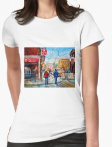 FRENCH BAKERY MONTREAL WINTER SCENE PAINTING CANADIAN ART T-Shirt