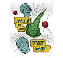 Help Is On The Way with floating blue heads Poster