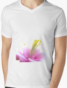 Tilted Pink Flower (isolated) Mens V-Neck T-Shirt