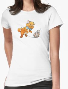 CAT CHASING BB8 Womens Fitted T-Shirt