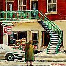 DEPANNEUR WINTER SCENE PAINTING MONTREAL SNOWY DAY CANADIAN ART by Carole  Spandau