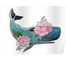 Blue cachalot whale with pink flowers Poster