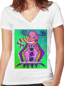 Abstract Elephant Women's Fitted V-Neck T-Shirt