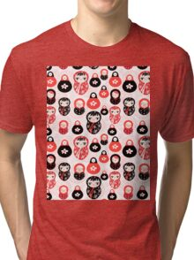 funny pattern with dolls Tri-blend T-Shirt