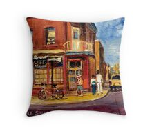 CANADIAN PAINTINGS RUE FAIRMOUNT MONTREAL STREETS  Throw Pillow