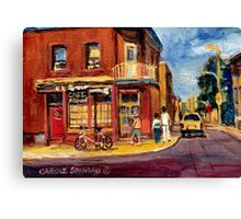 CANADIAN PAINTINGS RUE FAIRMOUNT MONTREAL STREETS  Canvas Print
