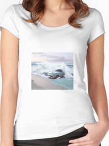 Car and the waves Women's Fitted Scoop T-Shirt