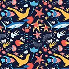 pattern with stingray and fish by Tanor