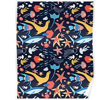 pattern with stingray and fish Poster