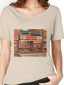 PARK AVENUE FRUIT STORE MONTREAL SCENE CANADIAN PAINTING Women's Relaxed Fit T-Shirt