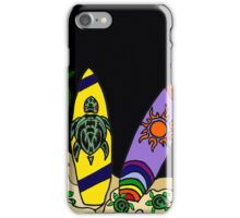 Fun Cool Surfing Surfboard Art with Turtles and Sun iPhone Case/Skin