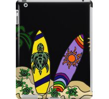 Fun Cool Surfing Surfboard Art with Turtles and Sun iPad Case/Skin
