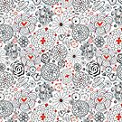 Graphic floral pattern with birds in love by Tanor
