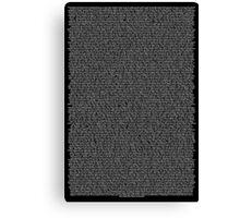 Bee Movie Script Black Canvas Print