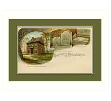 1890s Souvenir of Philadelphia, John Penn, Benjamin Franklin Art Print
