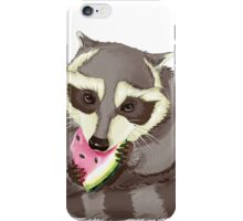 Raccoon with a watermelon iPhone Case/Skin
